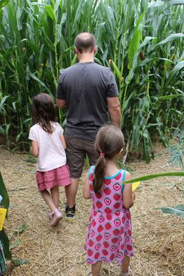 Unsere Mädels und Stefan im Maislabyrinth auf dem Erdbeerhof Münch in Groß-Umstadt