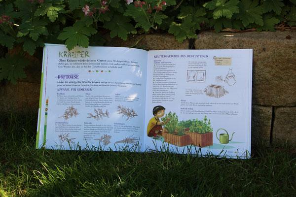 """Das aufgeschlagene Buch """"Blumentopf und Gartenschere"""""""