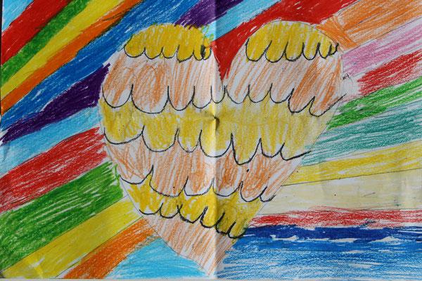 Regenbogenbild mit Herz zum Muttertag