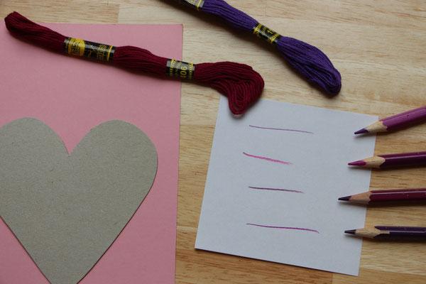 Auswahl der Farben für Stift und Garn