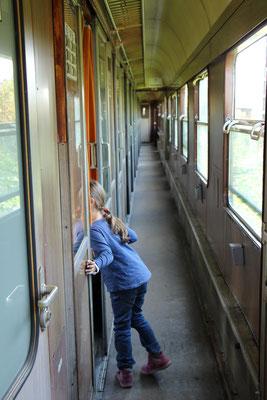 Besichtigung eines alten Zugwaggons beim Dampflokfest Kranichstein