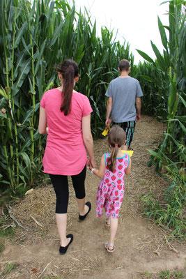 Unser Besuch und unsere Mädels im Maislabyrinth auf dem Erdbeerhof Münch in Groß-Umstadt