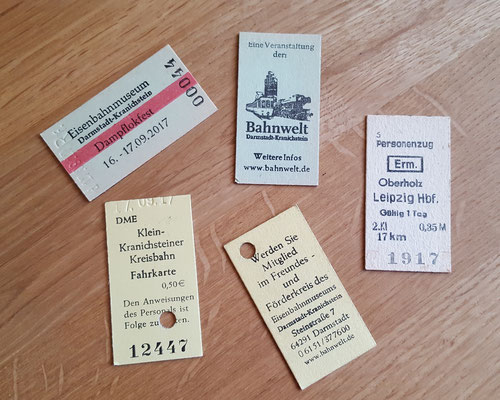 Fahrkarten auf dem Dampflokfest Kranichstein