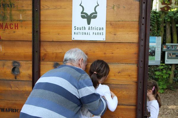 Die Mädels und der Opa an einer Entdeckerstation im Frankfurter Zoo