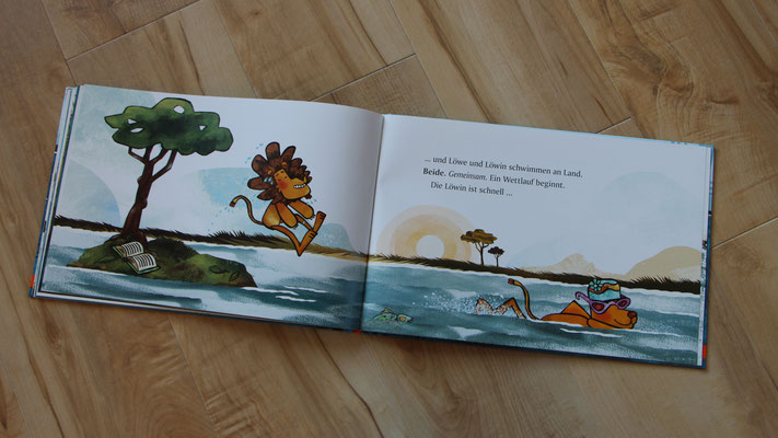 """Buchseite aus dem Buch """"Die Geschichte vom Löwen, der nicht schwimmen konnte"""""""