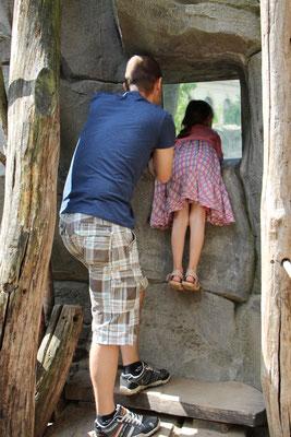 Unser Besuch und Lena betrachten die Bären durch ein Fenster im Zoo Frankfurt