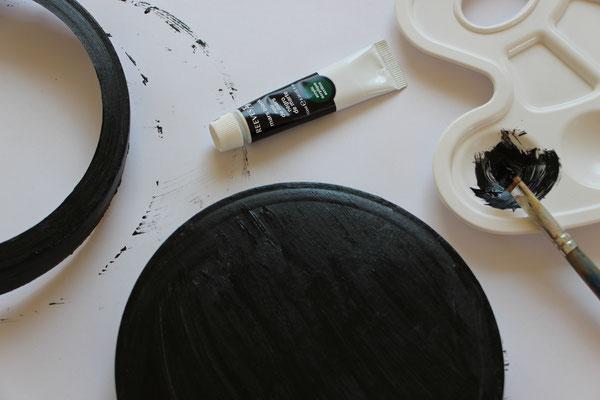 der schwarz angemalte Laternenboden und -deckel