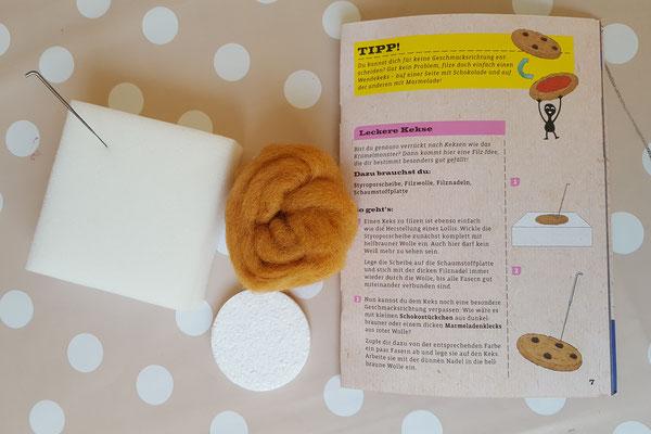 das benötige Material für einen Filz-Keks