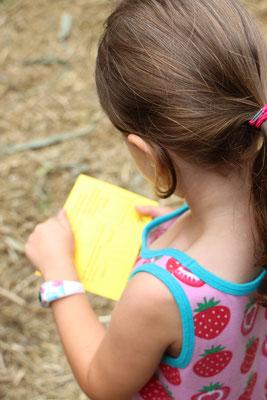 Unsere Kleine auf der Suche nach Stempeln im Maislabyrinth auf dem Erdbeerhof Münch in Groß-Umstadt