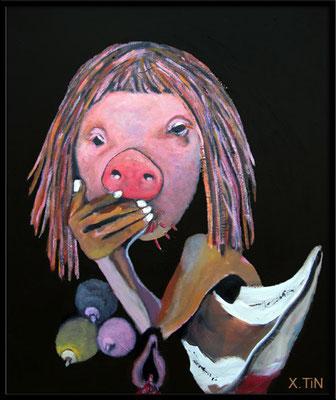 la cochonne est gloutonne, 55x46-2016