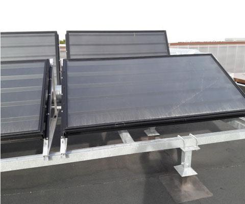 Batterie de panneaux Aérollagg sur toit terrasse