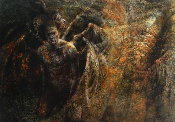 Lo 'mperador del doloroso regno -  2013, 120x170, olio su tavola.