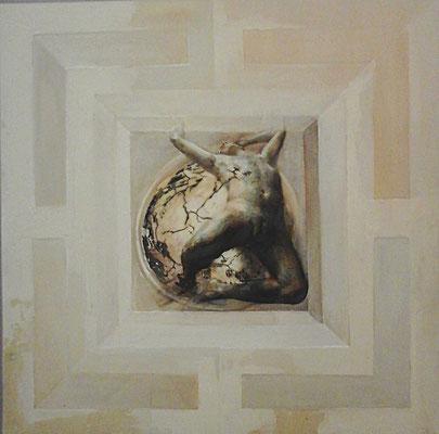 Doppia Lettura - 2016, 50x50, olio su tavola.