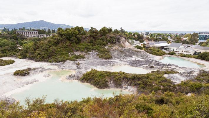 L'antico villaggio Maori di Rotorua con lo sfondo della città moderna - New Zealand - Nuova Zelanda