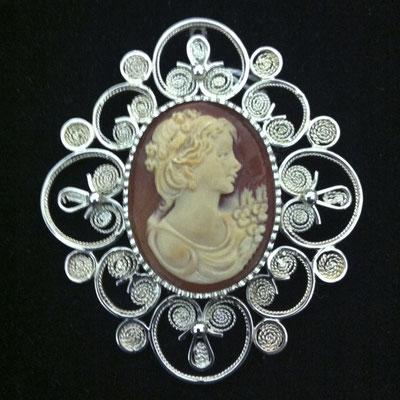 Ciondolo in filigrana d'argento 925 con cameo
