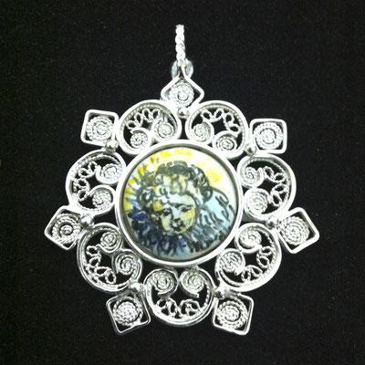Ciondolo in filigrana d'argento 925 con ceramica dipinta