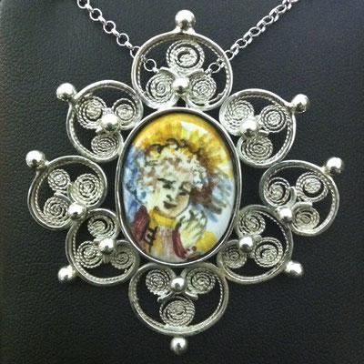 Ciondolo in filingrana d'argento battuto 925 con ceramica dipinta a mano