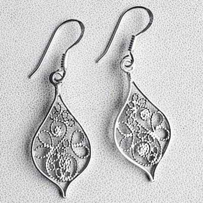 Orecchini pendenti in filigrana d'argento 925