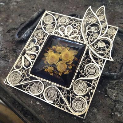 Ciondolo in in filigrana d'argento 925 con ambra