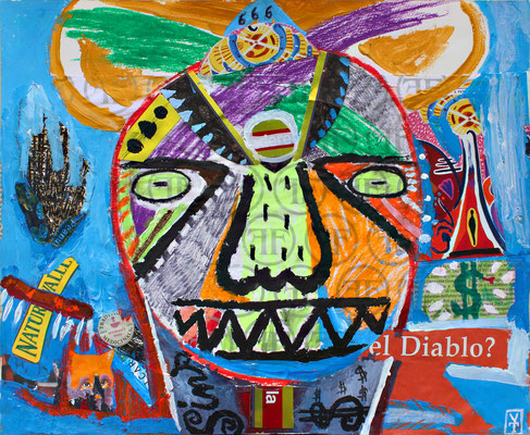 El diablo? / Acrylic, oil pastel and collage on paper -17x14inch -2015