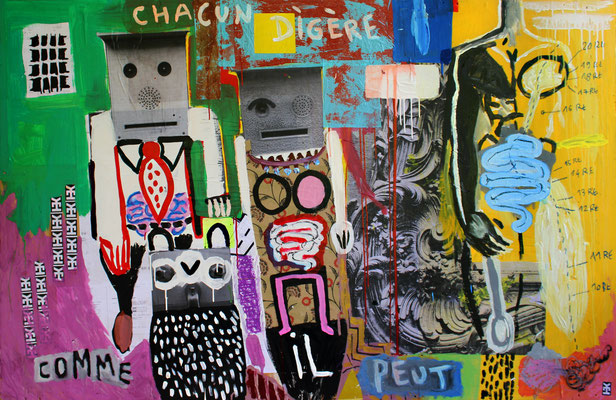 CHACUN DIGÈRE COMME IL PEUT- Acrylic and collage on wood - 71x46inch - 2015