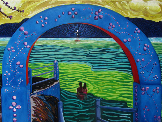 LA PROMESSE - Acrylic and oil pastel on canvas - 47.5x35.5inch -2012