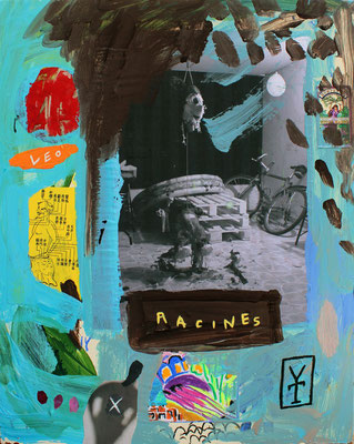 RACINES – acrylic and collage on wood-  21.5x28 inch/ 2016