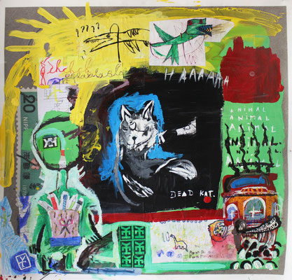 DEAD KAT - acrylic and collage on vinyl - 29x29 inch / 2016