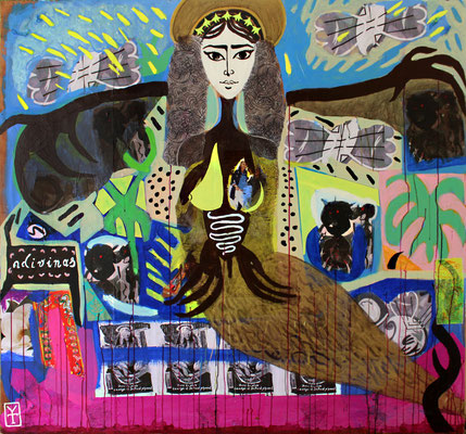 SIRENA / Acrylic and collage on wood -65x56inch/ 2015