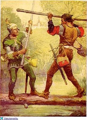 Робин Гуд и Маленький Джон на мосту
