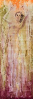 SIRENE 17, olio su misto, stucco su   legno, cm 46,5x140, 2017 conr9-17