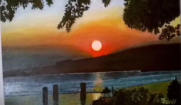 "Paesaggio:""Tramonto sul Lago Trasimeno""-Olio su tavola telata 40x60"