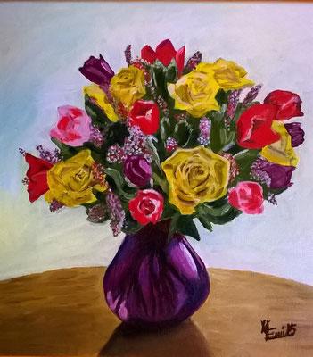 "Natura morta: ""Vaso di rose""- Olio su tela 40x40"