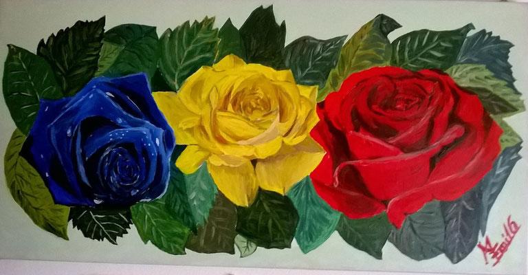 """Natura morta """" 3 Rose""""-Olio su tela 30x60"""