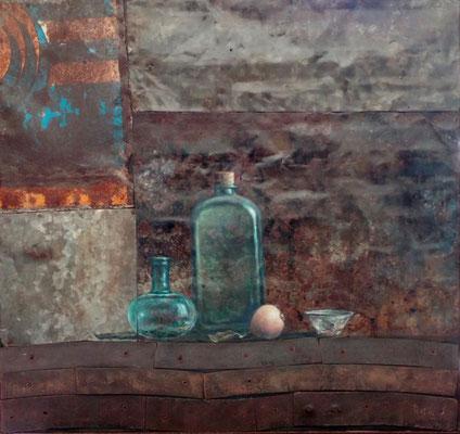 La bottiglia verde - olio su lamiera ossidata