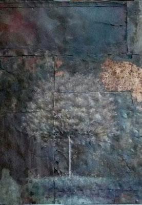 Terrae - olio su lamiera ossidata