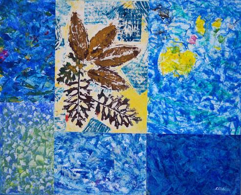 """""""Foglie d'autunno n. 1"""" olio su carta (collage su legno) 55 x 45-2019"""