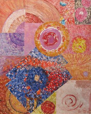 """""""Sistema solare"""" olio su carta (collage su legno) 80 x 100-2017"""