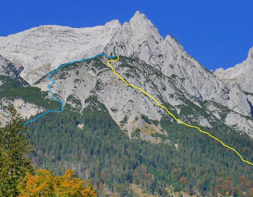 Routenverlauf (gelb Aufstieg, blau Abstieg; Foto vom Herbst 2018)