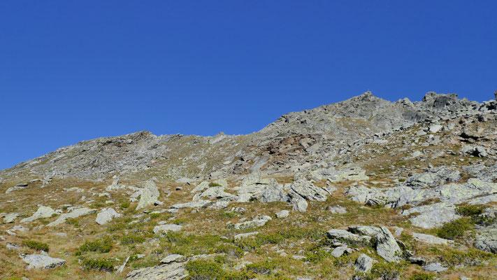 Gipfelaufbau, man hält sich linkerhand steil Richtung Scharte
