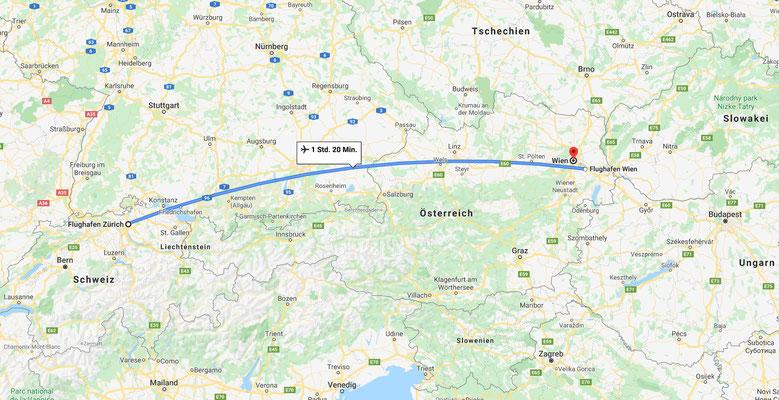 Flug Zürich -> Wien