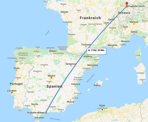 Rückflug: Flughafen Malaga --> Flughafen Zürich