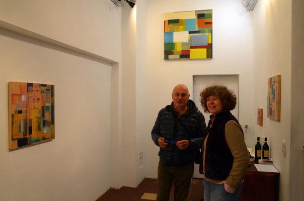 Anne Schreiber in der Galerie SEHR Museumsnacht Koblenz 2018, hier: Mircea Handabura und Ellen Roß