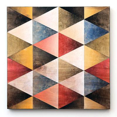 """P needs P #1"", 30 x 30 cm, mixed media on wood, 2018"