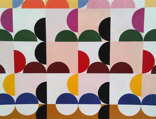 Quadratur des Kreises n°22, 2015, Vinyl auf Aquarellkarton