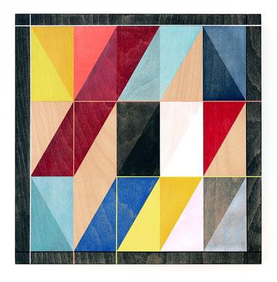 """Hommage an O.H. Hajek"", 40 x 40 cm, mixed media on wood, 2018"