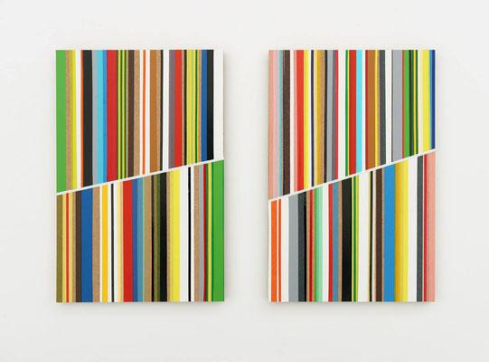 tape twins, Tape auf MDF, je 30 x 20 cm, 2018