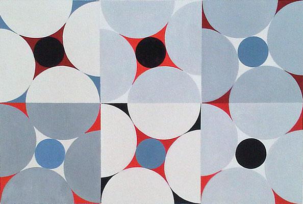 Ellen Roß: Quadratur des Kreises n°2, 2015, Vinyl auf Aquarellkarton, 30 x 40 cm
