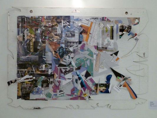 """Rückmeldung - die Vernissage, Steph Hardy: Ein Prospekt, Collage aus einer Hochglanzbroschüre zum """"Forum Confluentes"""""""