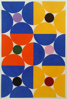 Ellen Roß: Quadratur des Kreises n°2, 2015, Vinyl auf Karton, FABIANO 400gr/qm, 50 x 70 cm
